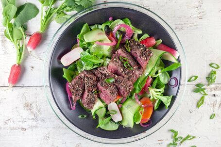 Pepersteak salade