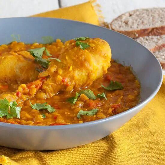 Gele spliterwten curry met kip