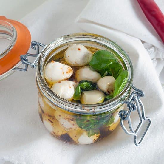 Gemarineerde mini mozzarella
