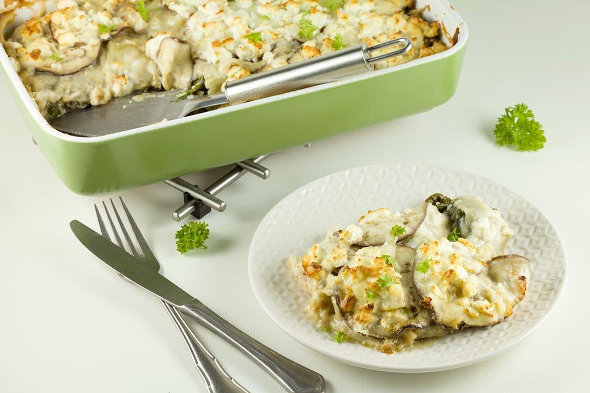 Snijbiet en aubergine lasagne