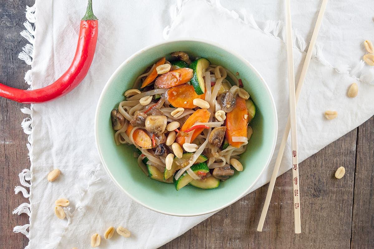 Rijstnoedels met groenten