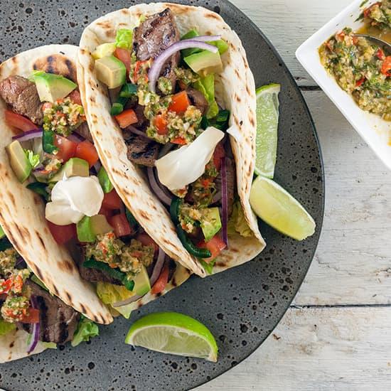 Chimichurri biefstuk taco's