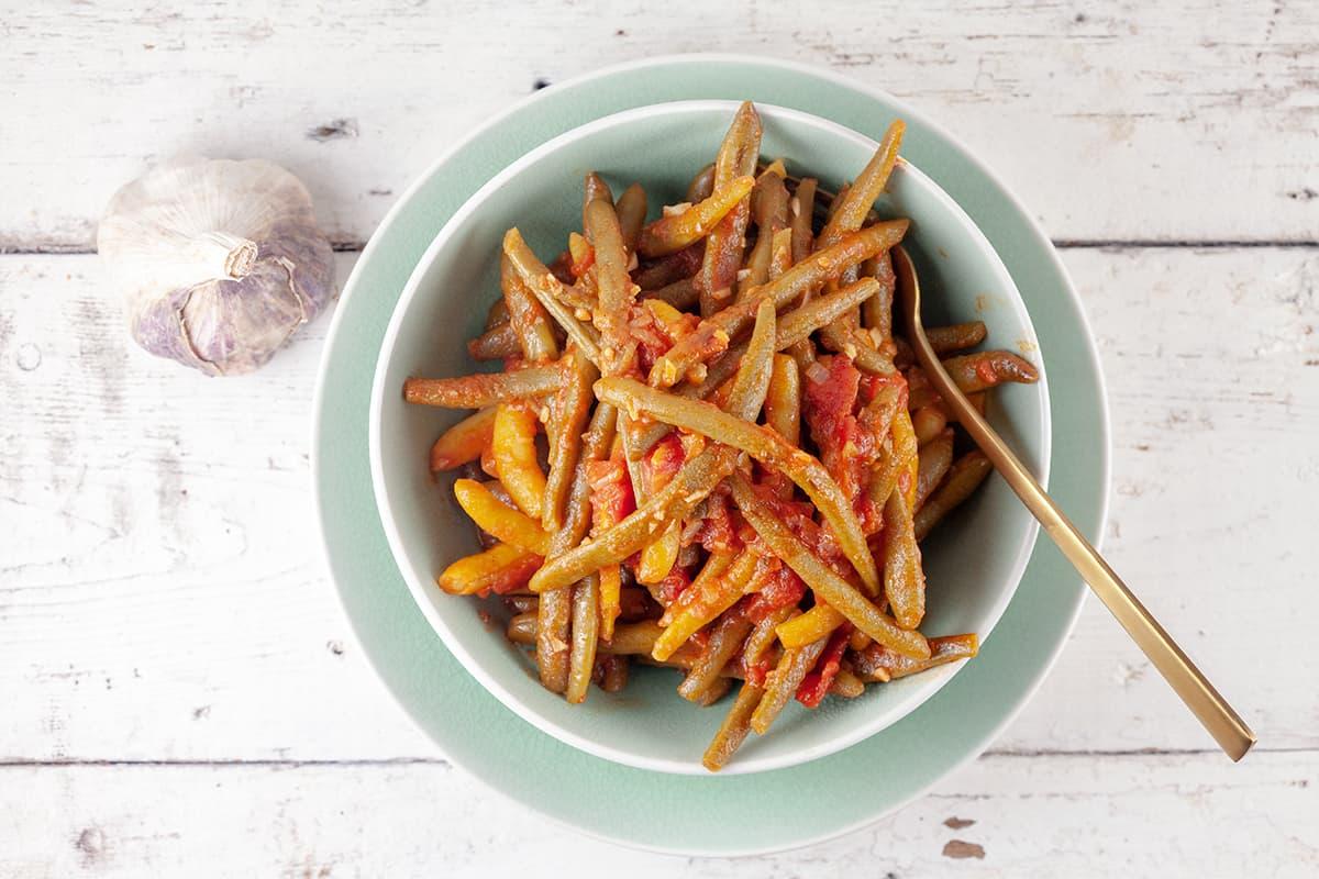 Libanese sperziebonen met tomaat